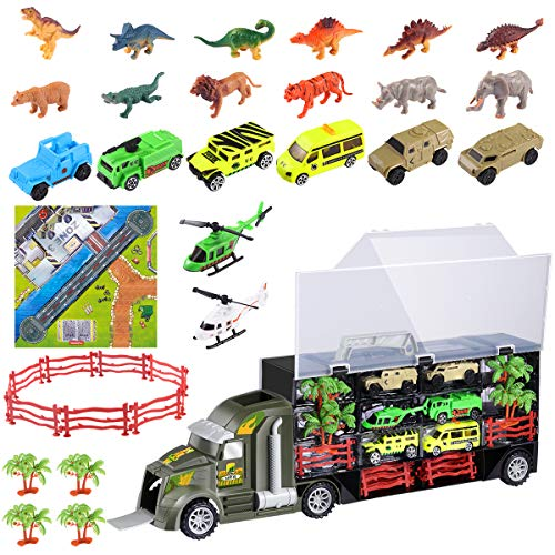 iBaseToy 35 Pieces Dinosaur Toys Truck, Car Toys Transport Carrier Truck with 6 Dinosaurs, 6 Animals, 6 Off-Road Cars, 2 Helicopters, 4 Trees, 10 Fences and 1 Map for 3-12 Years Old Boys and Girls (Christmas Tree Trunk Too Soft For Stand)