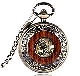 Pocket Watch Men Women Unisex Luxury Wood Circle Mechanical Hand Winding Roman numerals Necklace Gift