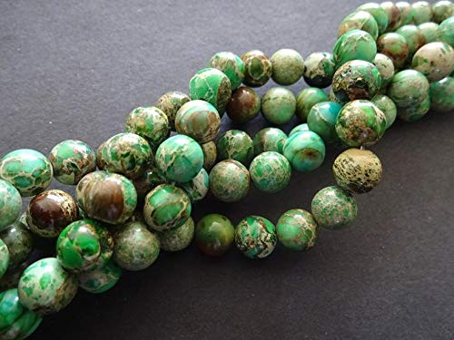 World's Natural Treasures - 8mm Natural Regalite Ball Beads, Dyed &Heated, 16 Inch Strand, About 49 Teal Blue Gemstone Beads, Natural Stone, Marbled, Swirled - Huge Selection of Beading ()