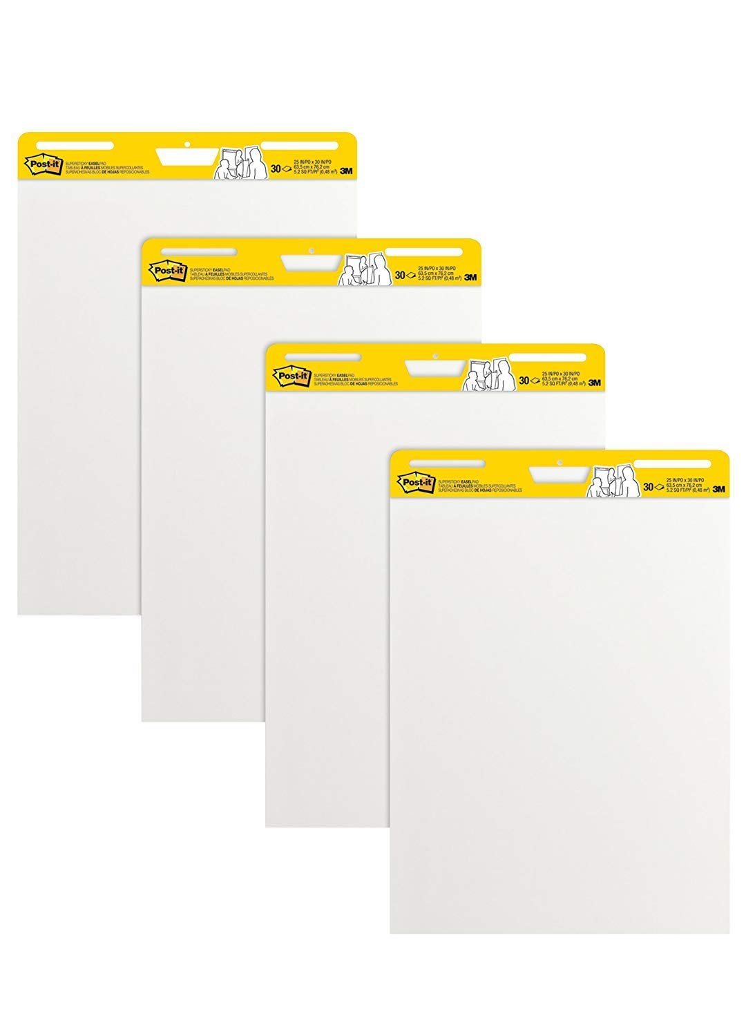 Post-it Super Sticky Easel Pad MRRG 25 x 30 Inches, 30 Sheets/Pad, 6 Pads, Large White Premium Self Stick Flip Chart Paper, Super Sticking Power