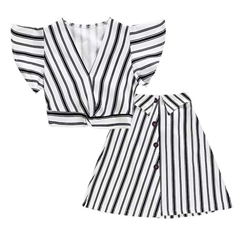 Leyorie Child Girl Fashion Suit Set,Flare Sleeve Crop Tops T Shirts and Button Down A-Line Skirt Striped Cotton Two-Piece Clothing(White,120) - Ribbed Cotton A-line Skirt
