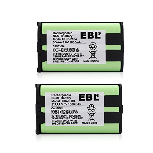 EBL 2 Packs 3.6V 1000mAh Home Phone Battery for HHR-P104 HHR-P104A KX-FG6550 KX-FPG391 KX-TG2388B KX-TG2396 Panasonic Phone Replacement Battery