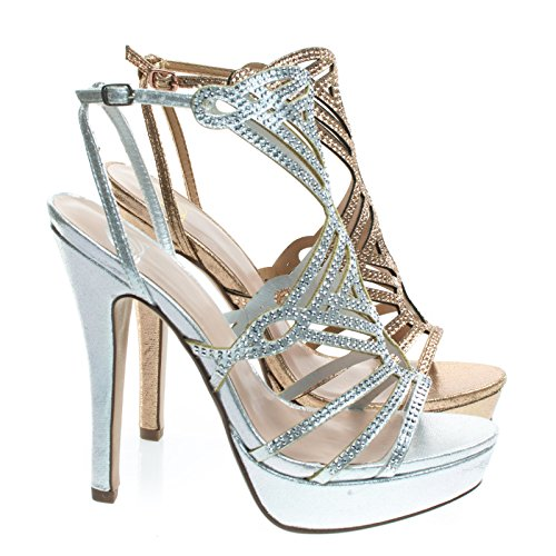 City Classified Walkway Silver Rhinestone Embelished Cage Sandal, Women's High Heel Platform -7.5 (High Platform Heel Cage)