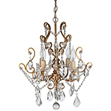 "Tiffany Collection' All Crystal Swag Chandelier Lighting with 4 Lights, Mini Style W15.5"" X H17"""