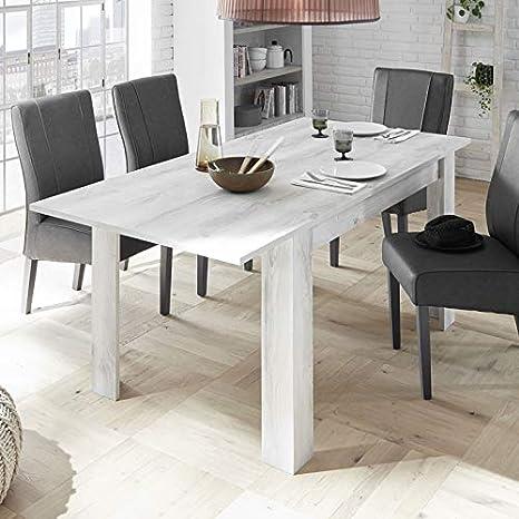 allonge Table LUBIO à Tousmesmeubles Pin de Blanc Repas 1J3TKlFc