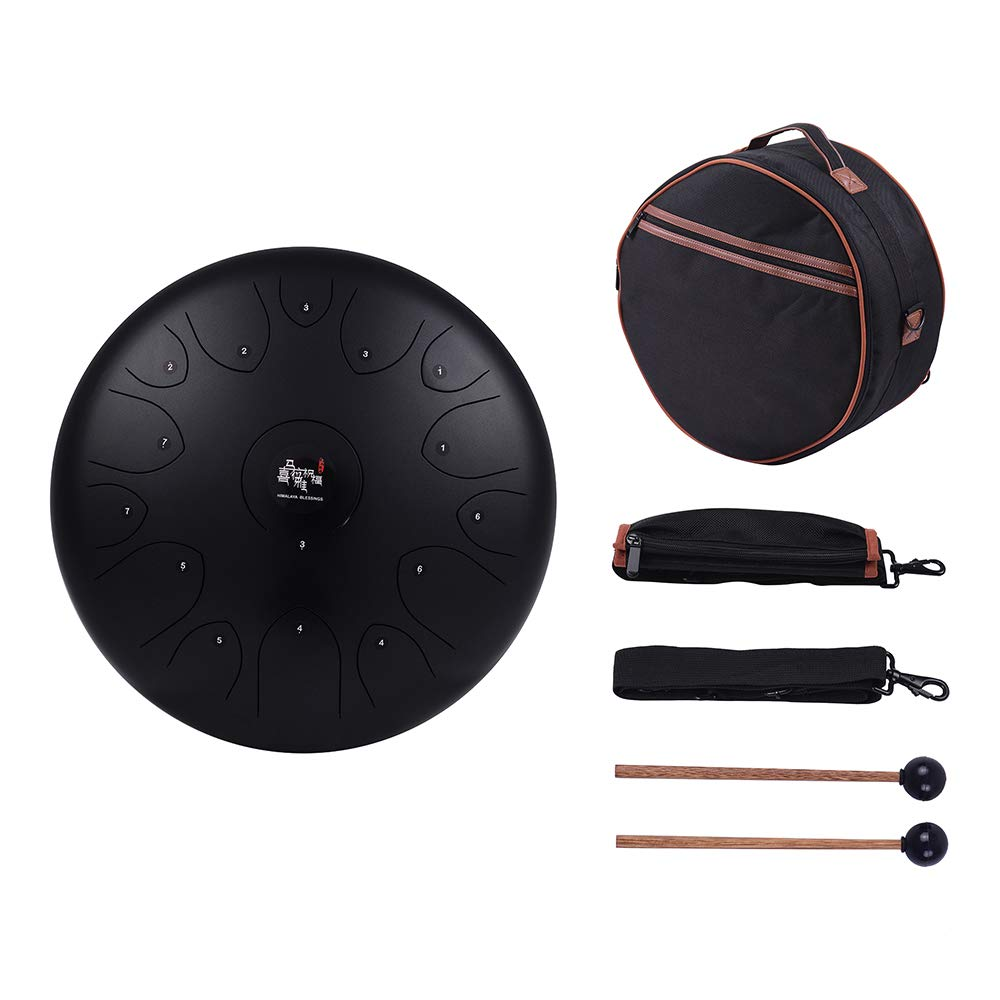 Muslady Professional 14 Inch 15-Tone Steel Tongue Drum Hand Pan Drum C Key Percussion Instrument with Drum Mallets Carry Bag