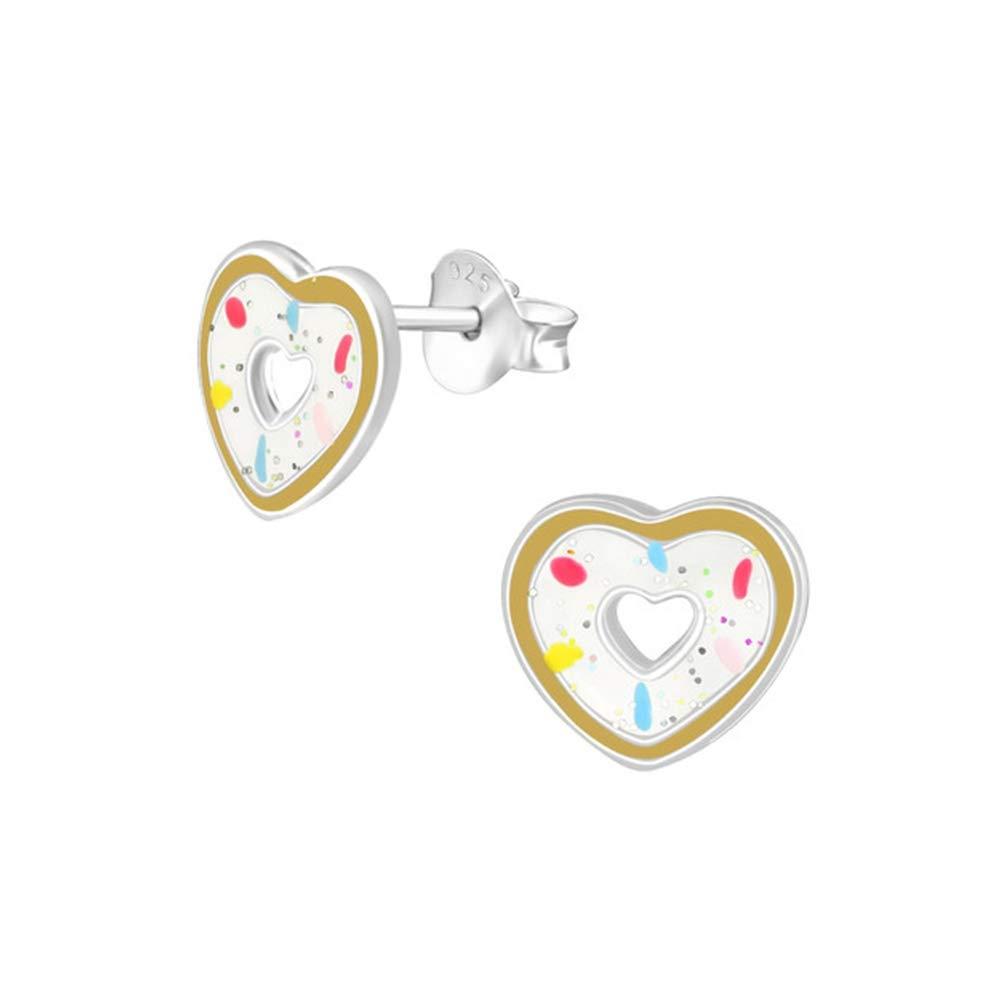 Girls Heart Doughnut Colorful Ear Studs 925 Sterling Silver