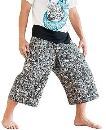 BohoHill Capri Thai Fisherman Pants Cropped Japanese Spiral Design (Black)