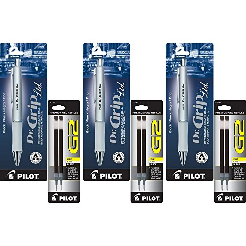 Pilot Dr. Grip Limited Retractable Rolling Ball Gel Pen, Fine Point, Platinum Metallic Barrel, Black Ink 3 Pen (36272) with 6 Black Ink Refill