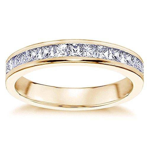VIP Jewelry Art 0.70 CT Princess Cut Diamond Wedding Band in 18K Yellow Gold Channel Setting - Size 12