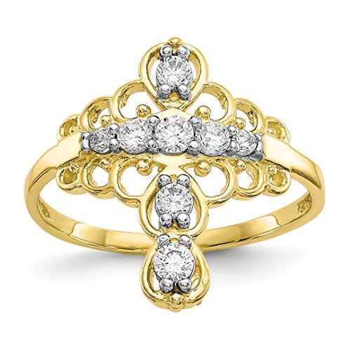 - ICE CARATS 10kt Yellow Gold Cubic Zirconia Cz Cross Religious Band Ring Size 6.00 Fine Jewelry Ideal Gifts For Women Gift Set From Heart