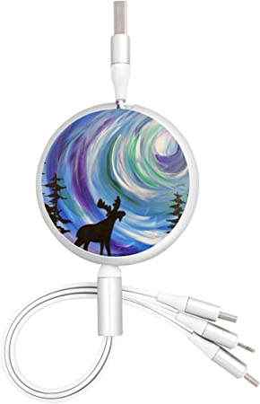 Galaxy Starry Sky 3 in 1 Retractable Charger Adapter Cord Compatible with Phone//Type-C//Micro USB Port Cell Phones Tablets Universal Use Multi USB Charging Cable