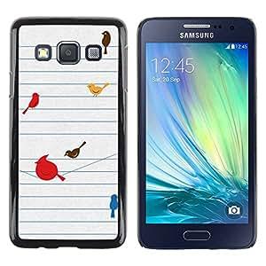 Paccase / SLIM PC / Aliminium Casa Carcasa Funda Case Cover para - Birds Cute Drawing Minimalist - Samsung Galaxy A3 SM-A300