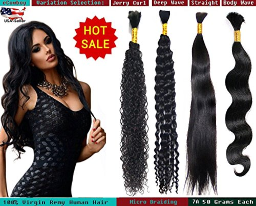 - eCowboy DIAMOND Grade Bulk Hair for Micro Braiding 100% Virgin REMY Hair Can be Dyed Bleached ABSORBS Color Well Deep Wave Curly great deal 2 bundles pack, 50 Grams/bundle Natural Black 20