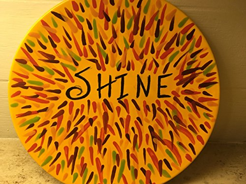 Bright Dinner (USA handmade artist inspired by Susan Schanerman dinner size bright yellow SHINE funky art deco folk art plate)