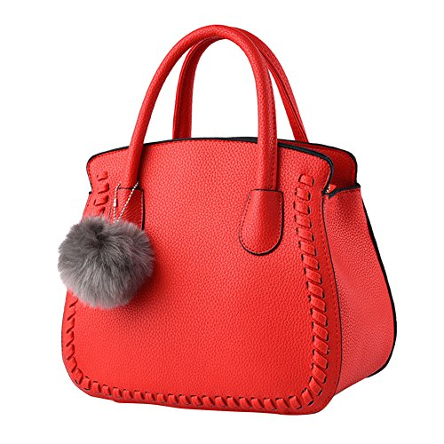 Decor Red Crossbody Shoulder Pure Red Tote Pu Color Woman Plush Leather Bags AqgETz