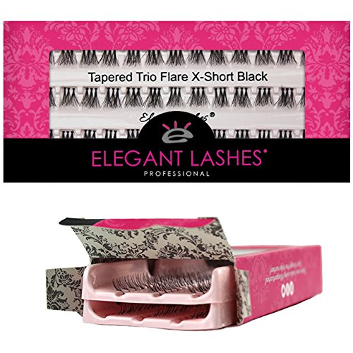 Elegant Lashes Tapered Trio Flare Extra-Short Black Individual Eyelashes (Double Pack - 2 Trays)