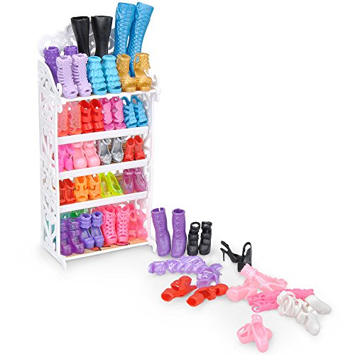 Barbie Shoe Shelf and Shoes