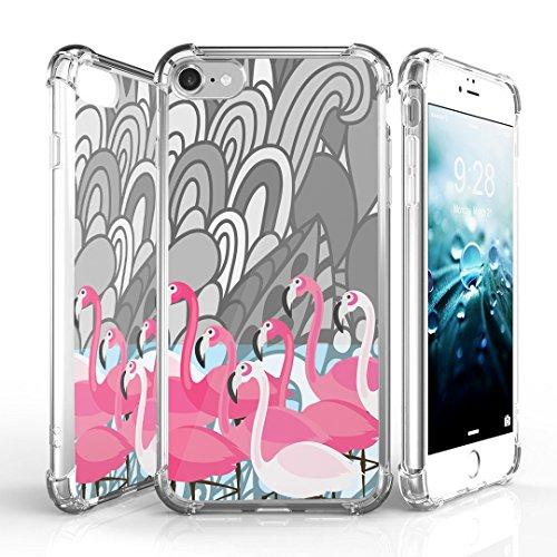 iPhone 7 Case, DuroCase AquaFlex 4 Corner Shockproof TPU Bumper w/ Hard Plastic Back Shield 2in1 Hybrid Case (Clear) For Apple iPhone 7 - (Flamingo Pink)