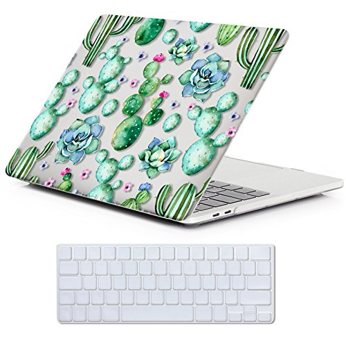 MacBook Pro 13 Case 2018 2017 2016 Release A1989/A1706/A1708, iCasso Hard Case Shell Cover and Keyboard Skin Cover for Apple New MacBook Pro 13 Inch Retina with/Without Touch Bar and Touch ID-Cactus
