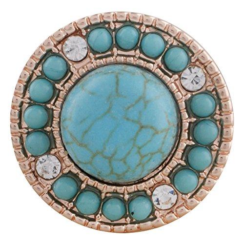 Snap Charm Rose Gold Border Turquoise Center Stone Bead Border Standard Size 3/4