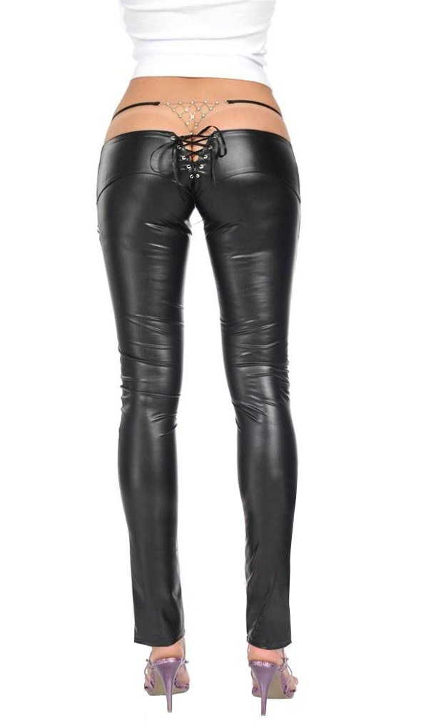 LinvMe Women's Lace Up Synthetic Latex Pencil Pants: Amazon.co.uk: Clothing