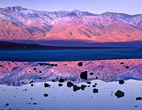 Panamint Range reflected in standing water at Badwater Death Valley National Park California Poster Print by Tim Fitzharris (22 x 28)
