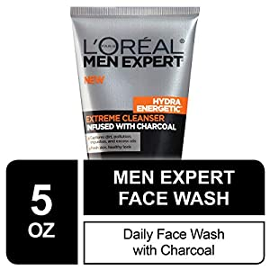 L'Oreal Men Expert Hydra Energetic Facial Cleanser with Charcoal for Daily Face Washing, Mens Face Wash, Beard and…