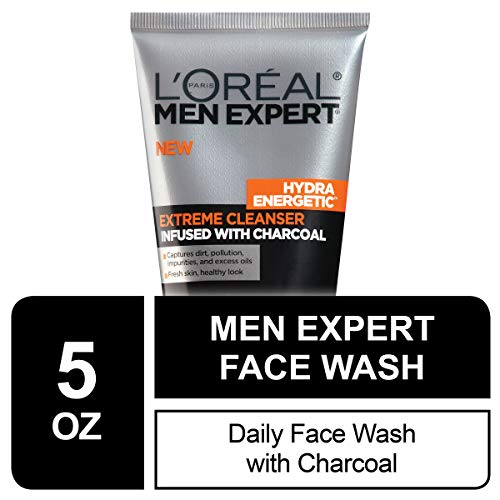 L'Oreal Men Expert Hydra Energetic Facial Cleanser with Charcoal for Daily Face Washing, Mens Face Wash, Beard and… 1