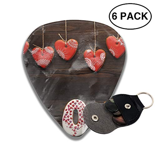 Artistic Love Heart-Shaped Cookie 3D Printed Custom Guitar Picks 6pcs Celluloid Bass Celluloid Material Same Pattern on Both Sides 0.46mm/0.71mm/0.96mm