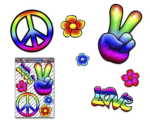 Rainbow Hippy PEACE Love FLOWER Large Pack Decal Car Stickers for Laptop Motorbikes Jetski Caravan - ST00007_LGE - JAS Stickers (Van Hippy)