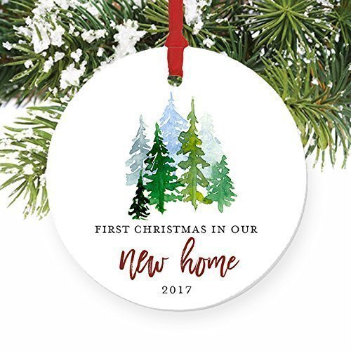New Home Ornament 2017, 1st Christmas In Our New House, First Home Ornament Housewarming Gifts Xmas Present Idea Ceramic Keepsake 3