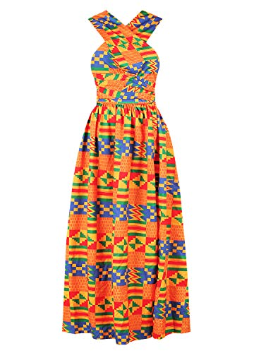 Tynora Women Sexy African Style Multiway V-Neck Backless Slit Maxi Long Dress(Orange Geometric XL)
