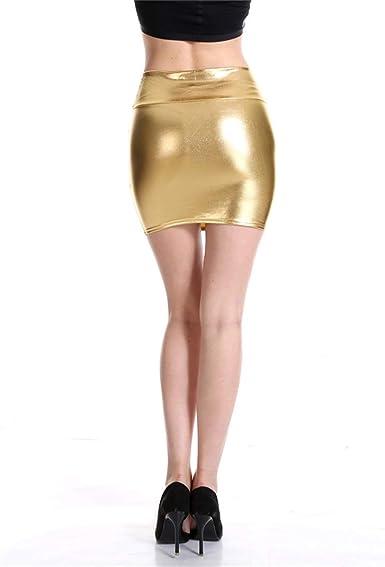 Señoras Mini Falda Brillante Metálico del Cuero de la Mirada ...