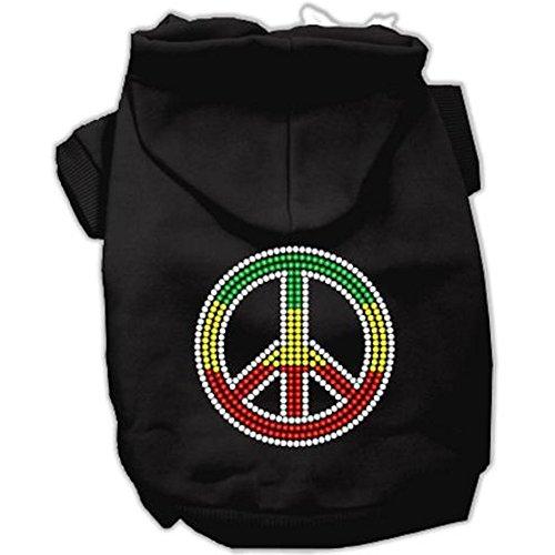 Rasta Peace Sign Dog Hoodie Black S (10)