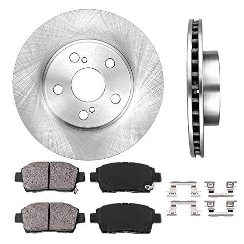 FRONT 255 mm Premium OE 5 Lug [2] Brake Disc Rotors + [4] Ceramic Brake Pads + Clips