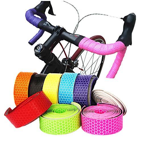 Cintas de Manillar de Bicicleta 2PCS Hex Grip Bar Tape - PU Road Bike Handlebar Tape Ciclismo Manija Wraps Cinta autoadhesiva...