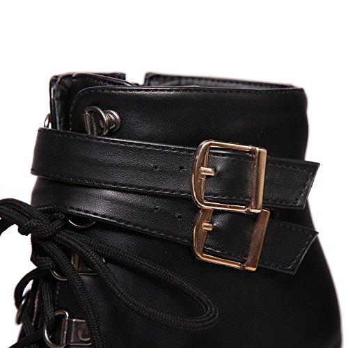 AgooLar Women's High-Heels Soft Material Low top Solid Zipper Boots Black bHdYSmZ39a