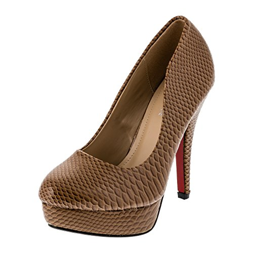 Le Scarpe Damen Pumps High Heels Plateau Stiletto Party Schuhe in Vielen Farben M301bn Braun Gr.35