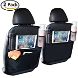 Car Backseat Protector(2 Pack) ,oneisall Kick Mats Waterproof Car Back Seat Organizer with Storage Pocket for Baby Travel Accessories, Kid Food - Black