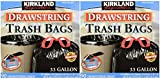 Kirkland Signature Drawstring Trash Bags - 33 Gallon - Xl Size - 2 Pack (90 count)