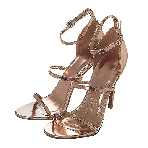 High Heel Ankle Strap Sandals With 2 Straps. Rose Gold 9msLVcXWb2