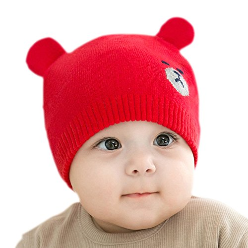 Kunking Unisex Toddler Knit Hat Fall Winter Wool Hat Warm Baby Knit Hat (Red)