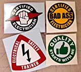 4x Electrician Hard Hat Stickers | Helmet Decals | Electrical Label Lunch Tool Box