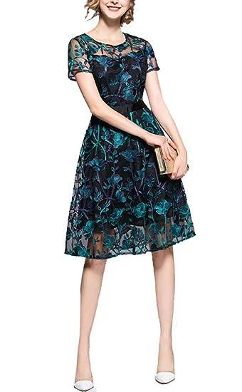 Amazon ナイトレイド 刺繍 レース 花柄 ひざ丈 ワンピース ドレス