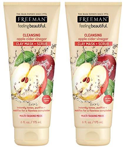 Freeman Facial Apple Cider Vinegar Clay Mask Plus Scrub, 6 oz./177 mL, Pack of 2