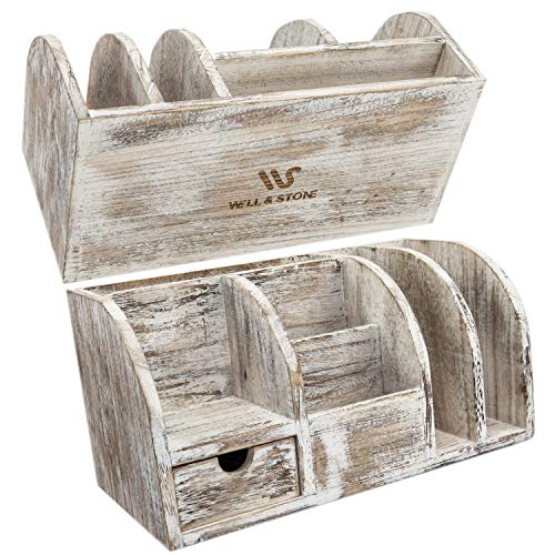 Well & Stone Desk Organizer Home and Office Supplies - Rustic Wood Desktop Accessories Organizers Holder for Pen, Pencil, Post It Note, Mail, Letter Sorter