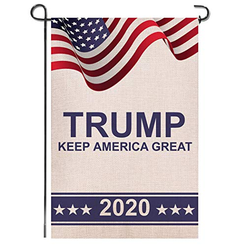 Shmbada Donald Trump Make Keep America Great Again 2020 Burlap Double Sided Garden Flag, Premium Fabric, American US Election Patriotic Outdoor Decoration Flags for Garden Yard Lawn, 12.5 x 18.5 inch