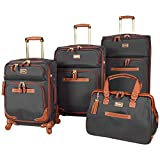 Steve Madden Luggage 4 piece Spinner Suitcase Collection (Global Black)
