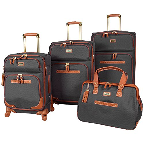 Steve Madden 4 piece Luggage With Spinner Wheels (Black) ()